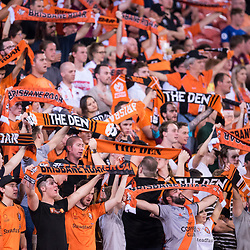 BRISBANE, AUSTRALIA - OCTOBER 13: Brisbane Roar fans celebrate during the Round 2 Hyundai A-League match between Brisbane Roar and Adelaide United on October 13, 2017 in Brisbane, Australia. (Photo by Patrick Kearney)