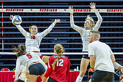BLOOMINGTON, IL - August 13: Nora Janka Tamara Otene  during a college Women's volleyball Scrimmage of the Illinois State Redbirds on  August 13 2021 at Illinois State University in Normal, IL. (Photo by Alan Look)