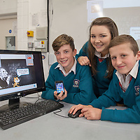 Diarmuid O'Donnell, Bianca Tully and Emmet McMahon from St John Bosco Community College, Kildysart showing their  Devolpment of an app to help students of all ages to multiply,divide and appreciate the value of prime numbers and factorisation.