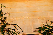 Stone carving with the name Chateau Cheval Blanc, Saint Emilion, Bordeaux