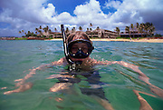 Boy snorkling, Hawaii<br />