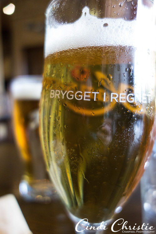 A meal with some Norwegian beer is had at Bryggeloftet and Bryggestuene restaurant in the Bryggen area of Bergen, Norway, on May 22, 2013. Bryggestuen is at the ground floor, while Bryggelofet is on the upper level.  (© 2013 Cindi Christie)