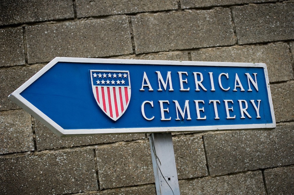 Sign to Somme American Cemetery and Memorial located in Bony, Aisne, Picardy, France. It contains the graves of 1,844 of the United States' military dead from World War I