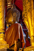 Interior view of Wat May Souvannapoumaram, Luang Prabang, Laos.