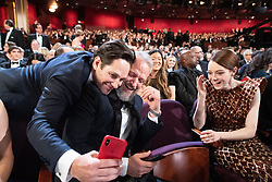Paul Rudd takes a picture with Ed Sinclair and Emma Stone, Oscar® nominee, during the live ABC Telecast of The 91st Oscars® at the Dolby® Theatre in Hollywood, CA on Sunday, February 24, 2019.