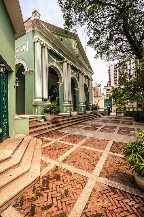 Dom Pedro V Theatre in Macau, China. This first Western-style theater in China, built in 1860, is today an important cultural landmark for the local Macanese community where important public events and celebrations are held.