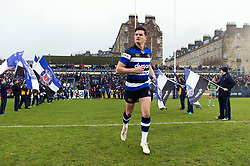 Freddie Burns and the rest of the Bath Rugby team run out onto the field - Mandatory byline: Patrick Khachfe/JMP - 07966 386802 - 27/01/2018 - RUGBY UNION - The Recreation Ground - Bath, England - Bath Rugby v Newcastle Falcons - Anglo-Welsh Cup