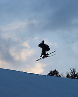 Luke O'Brien gets some air off a jump in the terrain park at the Abenaki Ski Area in Wolfeboro.  (Karen Bobotas/for the Laconia Daily Sun)
