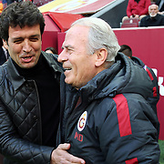 Galatasaray's headcoach Mustafa Denizli (R) and Akhisar Belediye Genclik ve Spor's headcoach Cihat Arslan (L) during their Turkish Super League soccer match Galatasaray between Akhisar Belediye Genclik ve Spor at the AliSamiYen Spor Kompleksi TT Arena at Seyrantepe in Istanbul Turkey on Sunday, 20 December 2015. Photo by Aykut AKICI/TURKPIX