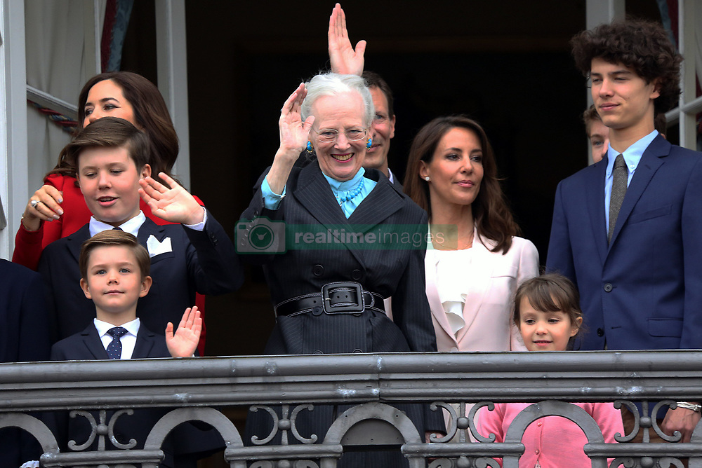 Queen Margrethe together with her grandchildren, Crown Princess Mary, Princess Marie and Prince Joachim at the balcony of the Royal residence, Amalienborg Palace in Copenhagen , on the occasion of her 78th birthday where she was celebrated by many hundreds of Copenhageners and tourists at the palace square. 16 Apr 2018 Pictured: Crown Princess Mary of Denmark, Princess Isabella, Prince Christian, Prince Vincent, Princess Josephine, Prince Nikolai, Princess Marie. Photo credit: MEGA TheMegaAgency.com +1 888 505 6342
