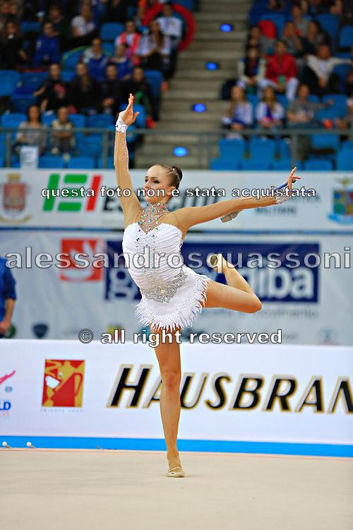 Durunda Marina during final at ball in Pesaro World Cup 12 April 2015.<br /> Marina is a Azerbaijani individual rhythmic gymnast of Ukrainian origin, she born on June 12, 1997 in Sevastopol.
