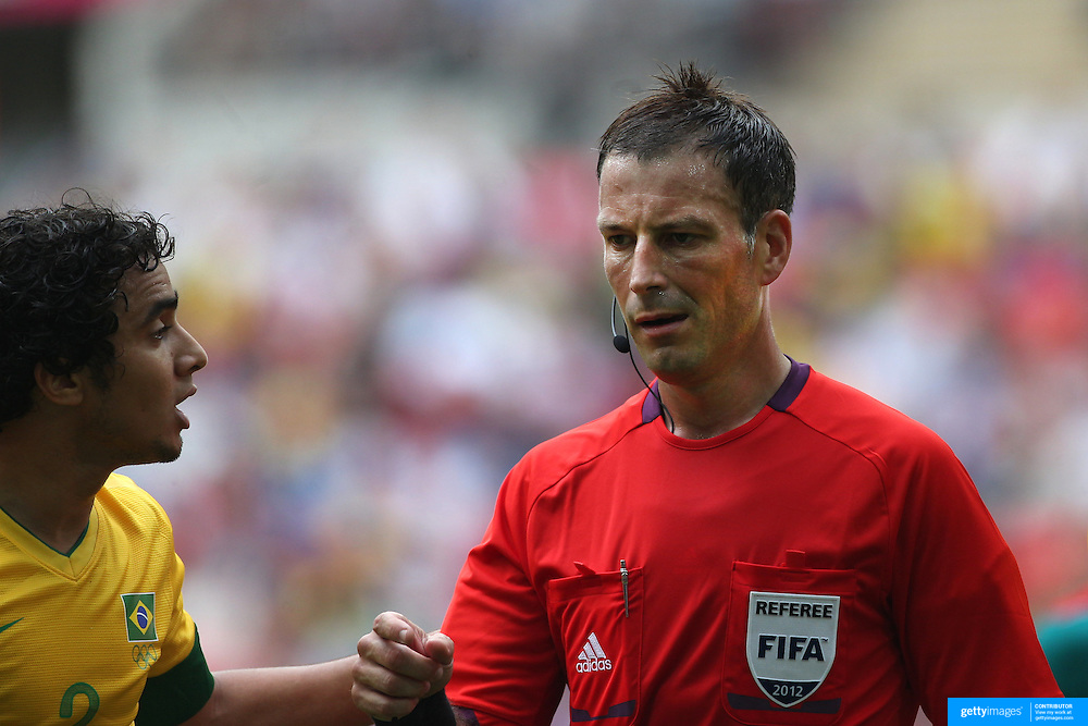 Referee Mark Clattenburg, Great Britain, in action during the Brazil V Mexico Gold Medal Men's Football match at Wembley Stadium during the London 2012 Olympic games. London, UK. 11th August 2012. Photo Tim Clayton