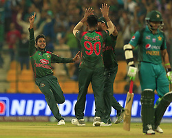 September 26, 2018 - Abu Dhabi, United Arab Emirates - Bangladesh cricketers celebrate during the Asia Cup 2018 cricket match  between Bangladesh and Pakistan at the Sheikh Zayed Stadium,Abu Dhabi, United Arab Emirates on September 26, 2018  (Credit Image: © Tharaka Basnayaka/NurPhoto/ZUMA Press)