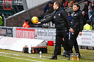 Oran Kearney St Mirren Manager hands back the matchball during the Ladbrokes Scottish Premiership match between St Mirren and Livingston at the Simple Digital Arena, Paisley, Scotland on 2nd March 2019.