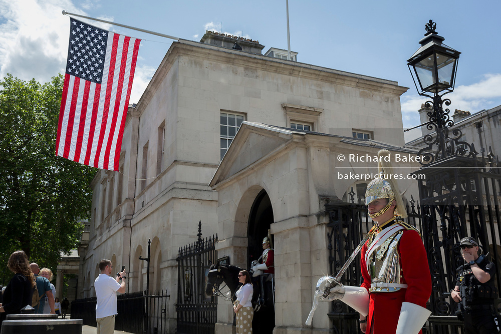On US President Donald Trump's first day of a controversial three-day state visit to the UK by the 45th American President, the US Stars and Stripes flag hangs from Horseguards in Whitehall, on 3rd June 2019, in London England.
