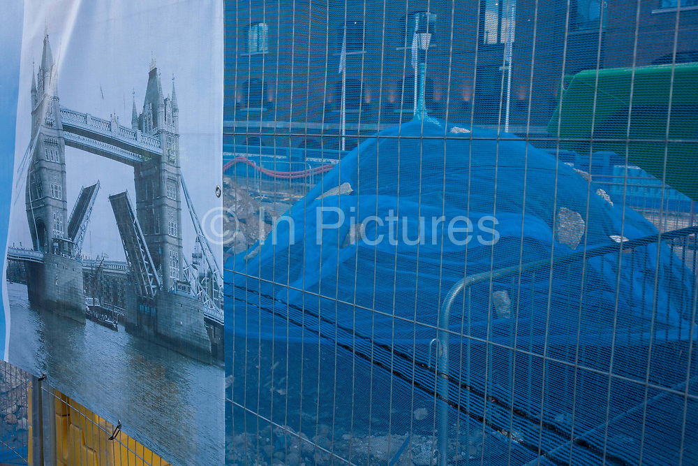 The start of repairs to Londons Tower Bridge, on 6th October 2016, in London, England. Closed for repairs to traffic and disrupting this major Thames crossing and surrounding roads for the next three months.
