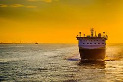 DFDS Seaways mv Corona Seaways in the Humber Estuary at sunset<br /> <br /> (c) Andrew Wilson   Edinburgh Elite media