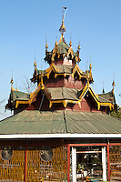 Maha Aung May Bon That Pagoda  located next to Pyin Oo Lwin Central Market is covered in a shimmering mosaic and an oasis in central Pyin Oo Lwin.