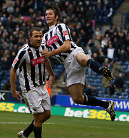 Photo: Steve Bond/Sportsbeat Images.<br /> West Bromwich Albion v Charlton Athletic. Coca Cola Championship. 15/12/2007. Roman Bednar (L) is congratulated by Bostjan Cesar (R)