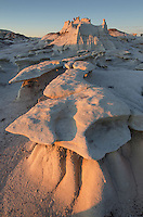 Bisti Badlands hoodoos at sunset, Bisti/De-Na-Zin Wilderness, New Mexico