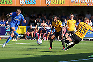 AFC Wimbledon attacker Marcus Forss (15) with a shot on goal during the EFL Sky Bet League 1 match between AFC Wimbledon and Bristol Rovers at the Cherry Red Records Stadium, Kingston, England on 21 September 2019.