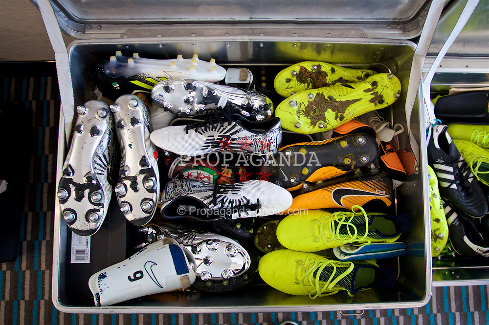 CHIȘINĂU, MOLDOVA - Tuesday, September 5, 2017: Wales players' boots in a skip at the Radisson Blu Hotel in Chișinău ahead of the 2018 FIFA World Cup Qualifying Group D match against Moldova. (Pic by David Rawcliffe/Propaganda)