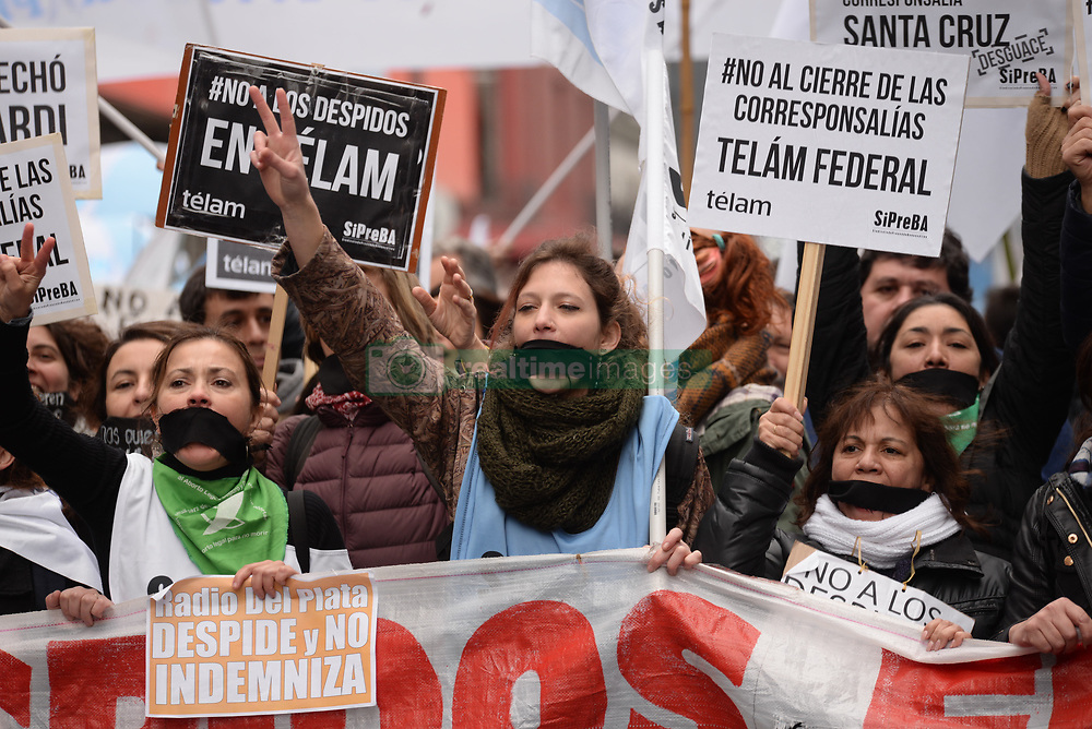 July 5, 2018 - Buenos Aires, Argentina.- Journalists from the Obelisco to the CCK (Cultural Center) where is the National Media and Communication office, march against the dismissals of more than 350 journalists of the National Press Agency Telam. (Credit Image: ©  via ZUMA Wire)