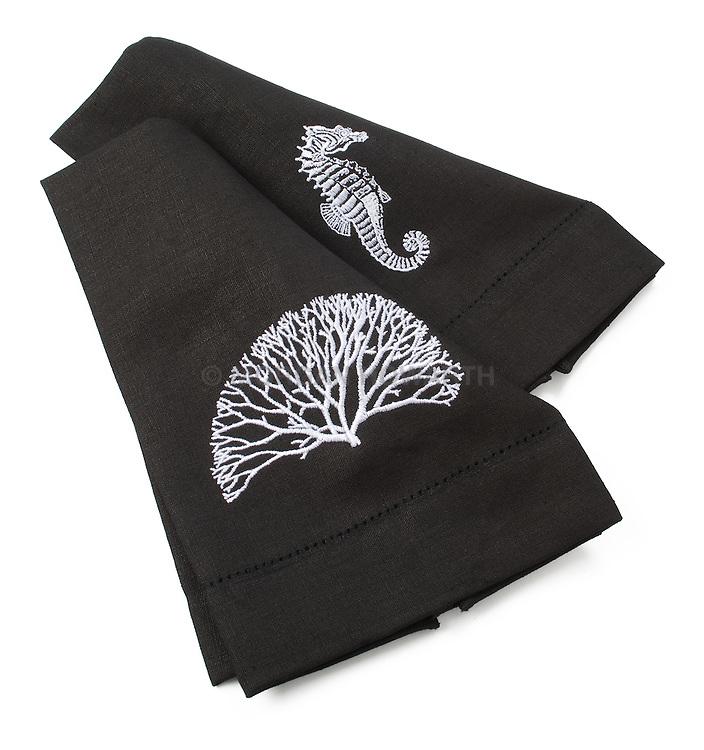 Black napkins with ocean animals