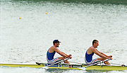 St Catherines, CANADA,  Men's Double Sculls FRA M2X.  Guillaume JEANNET and  Frederic KOWAL,  competing at the 1999 World Rowing Championships - Martindale Pond, Ontario. 08.1999..[Mandatory Credit; Peter Spurrier/Intersport-images]  ..St Catherines, CANADA,    Mens's double Sculls. FRA M2X. .Guillaume JEANNET and Frederic KOWAL. 1999 World Rowing Championships - Martindale Pond, Ontario. 08.1999..[Mandatory Credit; Peter Spurrier/Intersport-images]    ....St Catherines, CANADA,    Mens's double Sculls. FRA M2X. .Guillaume JEANNET and Frederic KOWAL. 1999 World Rowing Championships - Martindale Pond, Ontario. 08.1999..[Mandatory Credit; Peter Spurrier/Intersport-images]    .... 1999 FISA. World Rowing Championships, St Catherines, CANADA