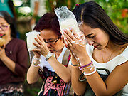 "17 MARCH 2018 - BANGKOK, THAILAND:  Women pray before presenting cooked sticky rice to monks during a ""sticky rice merit making"" in Lumpini Park in Bangkok. Sticky rice merit making is a merit making in the Isan / Lao style, when people present small amounts of cooked sticky rice (also known as glutinous rice) to Buddhist monks. Isan is the northeast region of Thailand.     PHOTO BY JACK KURTZ"