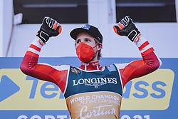 15.02.2021, Cortina, ITA, FIS Weltmeisterschaften Ski Alpin, Alpine Kombination, Herren, Siegerehrung, im Bild Goldmedaillen Gewinner und Weltmeister Marco Schwarz (AUT) // Gold Medalist and World Champion Marco Schwarz of Austria during the winner ceremony for the men's alpine combined of FIS Alpine Ski World Championships 2021 in Cortina, Italy on 2021/02/15. EXPA Pictures © 2021, PhotoCredit: EXPA/ Johann Groder