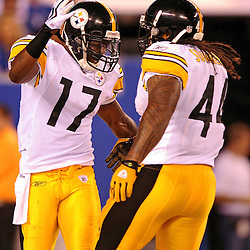21 Aug, 2010: Pittsburgh Steelers wide receiver Mike Wallace (17) celebrates his touchdown reception with running back Frank Summers (44) during first half NFL preseason action between the New York Giants and Pittsburgh Steelers at New Meadowlands Stadium in East Rutherford, New Jersey.