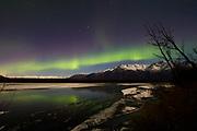 The aurora appears over Alaska's Knik River.