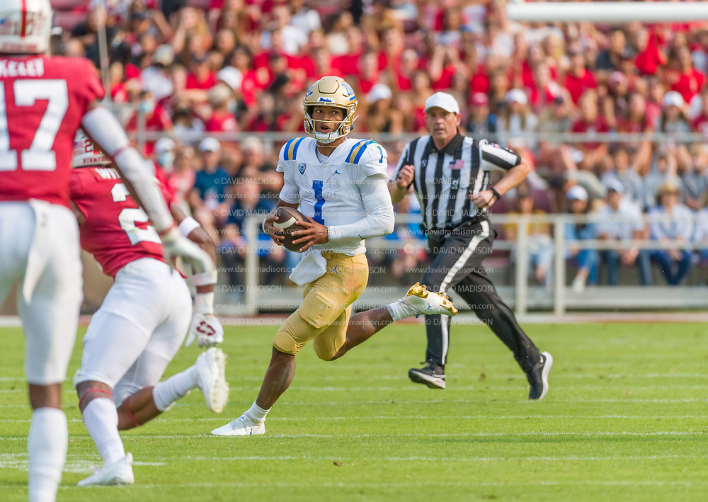 PALO ALTO, CA - SEPTEMBER 26:  Dorian Thompson-Richardson #1 of the UCLA Bruins plays in an NCAA Pac-12 college football game against the Stanford Cardinal on September 26, 2021 at Stanford Stadium in Palo Alto, California.  (Photo by David Madison/Getty Images)