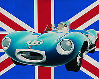 The 1956 Jaguar Type D has established the name of the sports car manufacturer Jaguar on many racing circuits. Among other things, the Jaguar Type D won the famous race at Le mans several times and was a fierce competitor for the Italian and German sports cars.<br /> <br /> This painting of the 1956 Jaguar Type D in front of the British flag can be purchased in various sizes and printed on canvas as well as wood and metal. You can also have the painting finished with an acrylic plate over it which gives it more depth.<br /> <br /> -<br /> BUY THIS PRINT AT<br /> <br /> FINE ART AMERICA<br /> ENGLISH<br /> https://janke.pixels.com/featured/jaguar-type-d-in-front-of-the-union-jack-jan-keteleer.html<br /> <br /> WADM / OH MY PRINTS<br /> DUTCH / FRENCH / GERMAN<br /> https://www.werkaandemuur.nl/nl/werk/Jaguar-Type-D-voor-de-Union-Jack/659825/134?mediumId=1&size=70x55