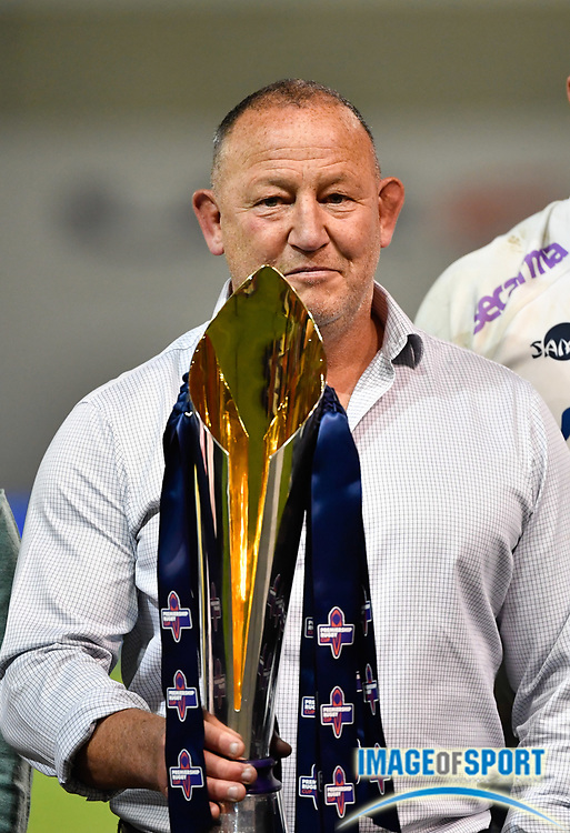 Sale Sharks Director of Rugby Steve Diamond celebrates with the trophy after his sides 27-19 victory after The Premiership Rugby Cup Final at The AJ Bell Stadium, Eccles, Greater Manchester, United Kingdom, Monday, September 21, 2020. (Steve Flynn/Image of Sport)