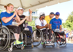41st Falmouth Road Race: wheelchair winners, Jill Moore, Craig Blanchette, James Sembeta, Krige Schabort, with Ralph Valente