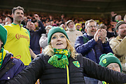 Norwich City fans celebrating victory after the EFL Sky Bet Championship match between Middlesbrough and Norwich City at the Riverside Stadium, Middlesbrough, England on 30 March 2019.