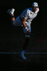 July 11, 2018 - London, England, U.S. - LONDON, ENG - JULY 11: JOHN ISNER (USA) during day nine match of the 2018 Wimbledon on July 11, 2018, at All England Lawn Tennis and Croquet Club in London,England. (Photo by Chaz Niell/Icon Sportswire) (Credit Image: © Chaz Niell/Icon SMI via ZUMA Press)