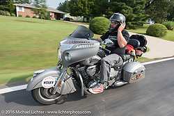 Motorcycle Cannonball Director of Operations Jason Sims riding his 2016 Indian Chief during the Motorcycle Cannonball Race of the Century. Stage-6 from Cape Girardeau, MO to Springfield, MO. USA. Thursday September 15, 2016. Photography ©2016 Michael Lichter.