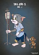 If Cartoon Characters Looked Their Age<br /> <br /> Andrew Tarusov, a Russian artist, created a series of illustrations portraying our favourite cartoon characters as pensioners. The artist imagined each of them having had a long and complicated life.<br /> <br /> Micky is the animation tycoon, Goofy didn't get insurance and became homeless, Daisy left Donald because of his gambling, Tom & Jerry have health problems because of their reckless youth and many of them are older than 80.<br /> <br /> Andrew Tarusov has  settled down in Los Angeles, California. Having studies for 10 years, his occupation is art and animation. He likes vintage style Pin-Ups and comics.<br /> <br /> Photo shows: Photo shows: Tom & Jerry – 75 (1940 –...)<br /> ©Excluisvepix Media