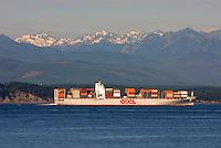 Container ship making way through Admiralty Inlet Washington USA