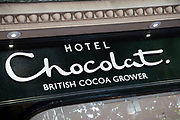 Sign for the confectionary and chocolate brand Hotel Chocolat in Birmingham, United Kingdom.