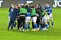 Football - 2020 / 2021 Sky Bet Championship - Swansea City vs Cardiff City - Liberty Stadium<br /> <br /> Cardiff celebrate victory in the South Wales local derby match<br /> <br /> COLORSPORT/WINSTON BYNORTH