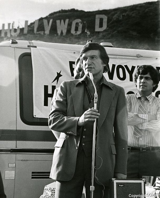 1978 Hugh Hefner speaking at the Bon Voyage celebration for the old Hollywood sign