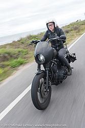 Iron Lilly Kristen Lassen riding a Harley-Davidson Sportster along A!A near Flagler Beach during Daytona Beach Bike Week. FL. USA. Tuesday, March 14, 2017. Photography ©2017 Michael Lichter.