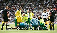 Photo: Steve Bond.<br />Derby County v Leeds United. Coca Cola Championship. 06/05/2007. referee Phil Crossley lies injured