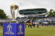 The Cricket World Cup trophy on display ahead of the ICC Cricket World Cup 2019 Final match between New Zealand and England at Lord's Cricket Ground, St John's Wood, United Kingdom on 14 July 2019.