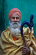 A sadhu, or holy man, attends Holi festivities in the village of Barsana.