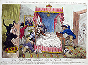 The Doctor indulged with his favourite Scene': Isaac Cruikshank c1790. Richard Price (1723-1791) Welsh philosopher, supporter of principles of French Revolution watching mob destroy Marie Antoinette's bed in search of her.